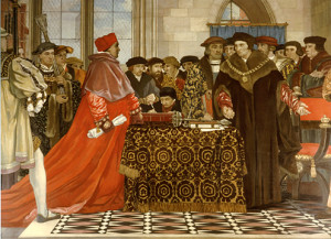 Thomas More confronting Cardinal Wolsey