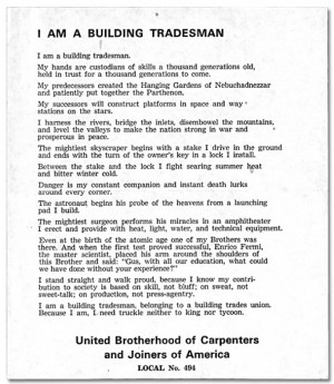Labor Day Poem For The Men and Women in The Building Trades.