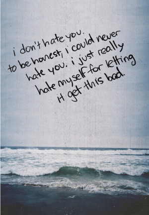 hate you, to be honest, I could never hate you. I just really hate ...