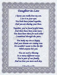 My Daughter In Law Poem   Daughter-in-Law Poem More