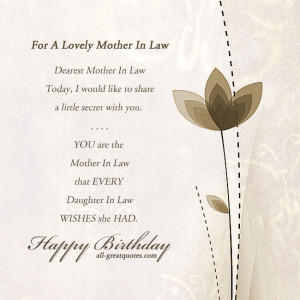 Free Birthday Cards For Mother In Law – For A Lovely Mother In Law