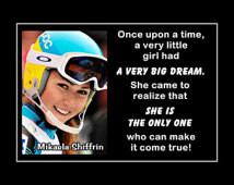 Skiing Poster Mikaela Shiffrin Phot o Quote Fan Wall Art 5x7