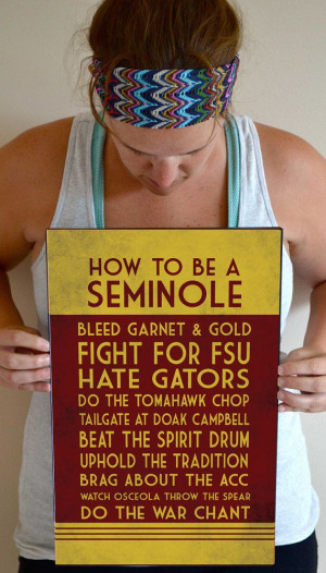 Florida State Art Print, Seminoles Quote Poster Sign, Florida State ...
