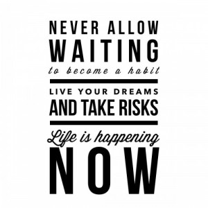 Never allow waiting to become a habit. Live your dreams and take risks ...