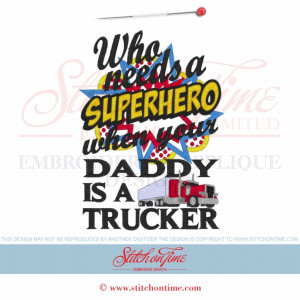 6367 Sayings : Superhero Daddy Trucker Applique 5x7