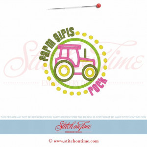 57 Tractors : Farm Girls Rock applique 5x7