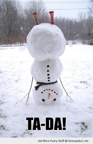 upside down handstand snowman trick ta da snow winter funny pics ...