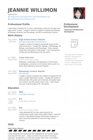 Teacher resumes with quotes quotesgram for Sample resume of a teacher in high school