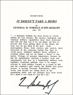 GENERAL H. NORMAN SCHWARZKOPF - TYPESCRIPT SIGNED - DOCUMENT 176843