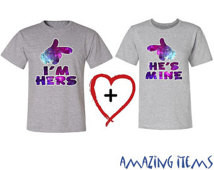 Couple Matching Cartoon Hands Galax y I'm Hers & He's Mine T-Shirts ...