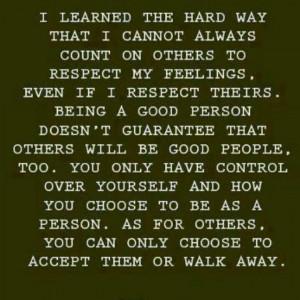 Respect yourself...walk away