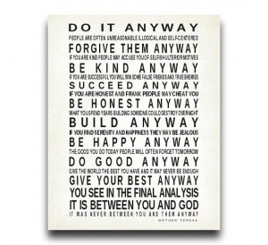 Do It Anyway Quote by Mother Teresa Print Typography Art Inspirational ...
