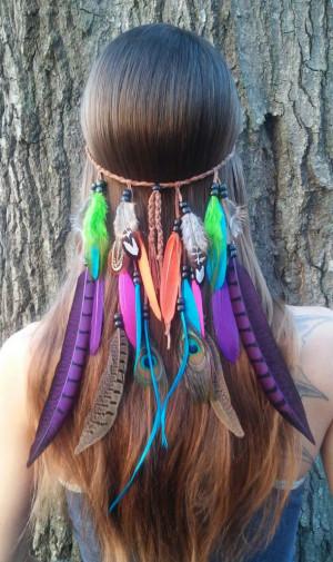 ... Paradise 2 - Feather headband, native american, hippie headband, bohe