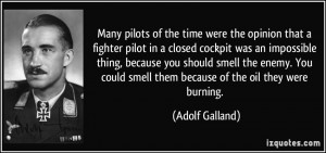 Many pilots of the time were the opinion that a fighter pilot in a ...