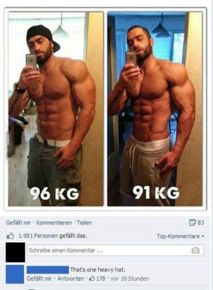 Guy posts a few muscle-bound selfies on FB, someone makes an astute ...