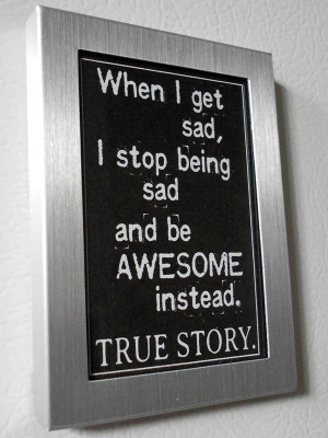 Refrigerator Magnet Silver Metal Frame Black and White Awesome Quote