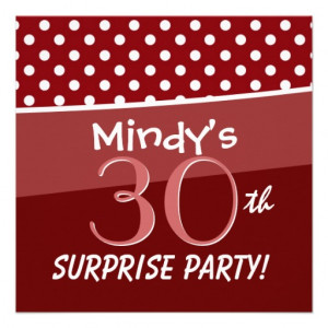 30th Birthday Party Polka Dot Pattern for Her Custom Announcements