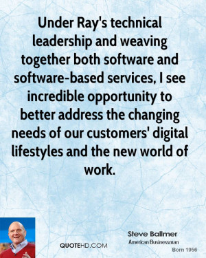 Under Ray's technical leadership and weaving together both software ...