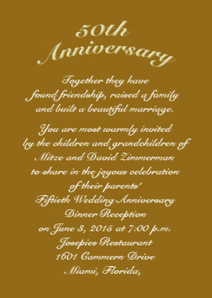 50th Golden Anniversary Invitation Wording