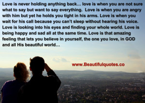 Love Is Never Holding Anything Back.
