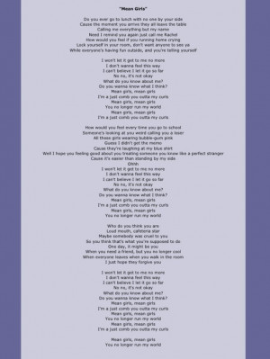 mean+girls+lyrics+rachel+crow | mean girls lyrics
