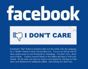 Facebook I DON'T CARE Button