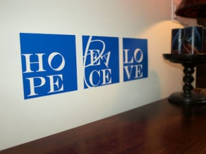 ... by Collection > Famous Quotes > Hope Peace Love Blocks Wall Decals
