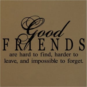 Good Friends are Hard to Find, Harder to Leave...Wall Quote