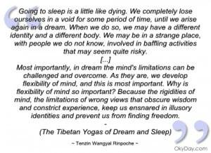 imagem going to sleep is a little like dying tenzin wangyal rinpoche