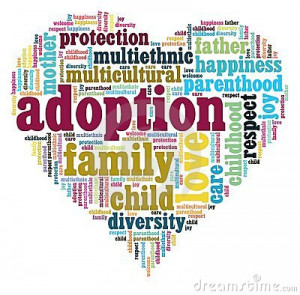heart with most common words regarding international adoption.