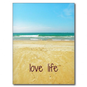 Love Life Quote with Beach Scene Postcards