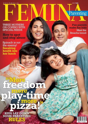Cyrus and Ayesha Broacha with kids on the Femina Cover Page