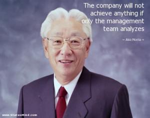 the management team analyzes Akio Morita Quotes StatusMind