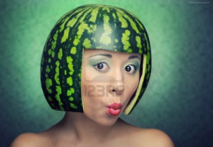 Woman funny watermelon hairstyle
