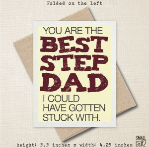 ... Funny Card - Birthday Card - Card For Stepdad - Snarky Stepfather Card