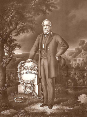 Robert E. Lee at Stonewall Jackson's Grave