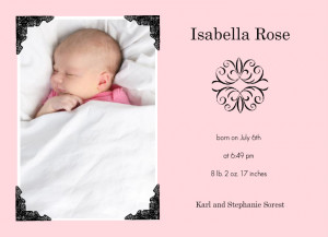Formal Photo Corners Girl Birth Announcement