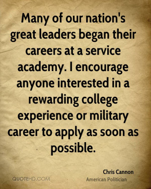 Many of our nation's great leaders began their careers at a service ...