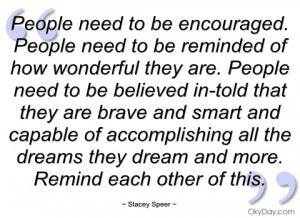 people need to be encouraged stacey speer