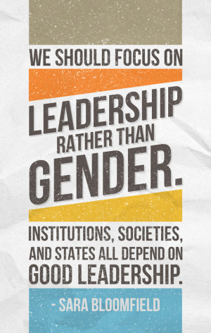 We should focus on leadership rather than gender. Institutions ...