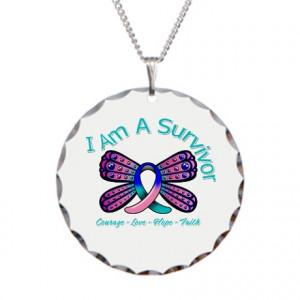 Thyroid Cancer Jewelry > Thyroid Cancer I 'm A Survivor Necklace