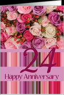 24th Wedding Anniversary Card - Pastel roses and stripes card ...