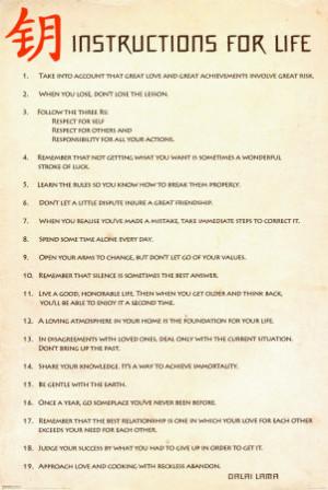 Instructions for Life, HH Dalai LamaPoster