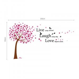 Muursticker roze bloesem boom quote