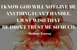 know God will not give me anything I can't handle. I just wish that ...