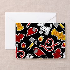Cute Firefighter Love Print - Black Greeting Cards for