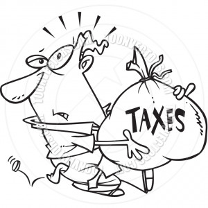 Cartoon Man With Tax Burden