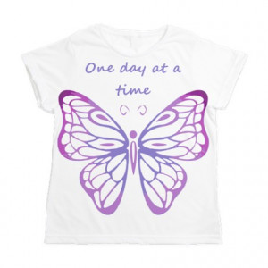 ... Encouraging Tops > One Day at a Time Quote Butterfly Art Women's All