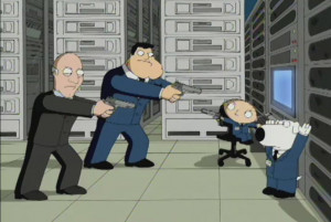 Stan and Bullock face Stewie and Brian in a standoff.