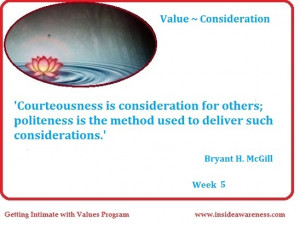 Getting Intimate with Values Daily Quote Reflections on Consideration